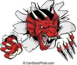 Cartoon fierce red dragon mascot animal character breaking through a wall