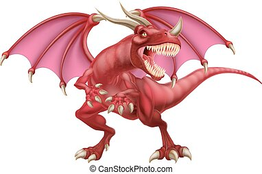 Red Dragon - An illustration of a mean looking fantasy fairy...