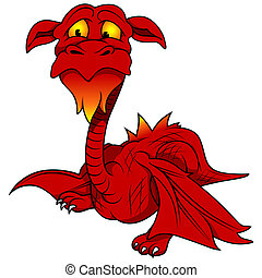 Red Dragon - Colored Cartoon Illustration, Vector