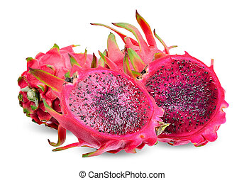 Red Dragon fruit isolated with clipping path