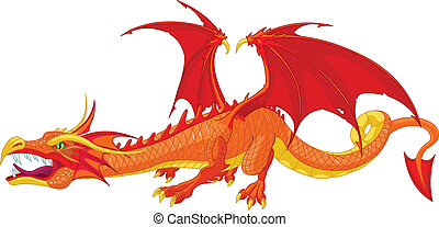 Red Dragon - Illustration of a beautiful detailed red dragon...