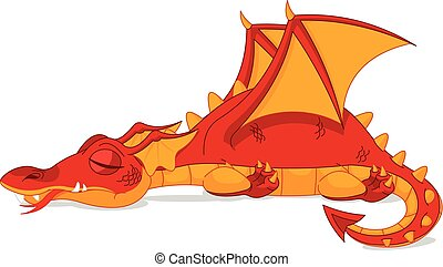 Illustrations of beautiful red dragon sleep