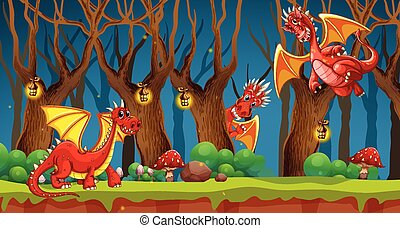 Red dragon in fairy tale forest