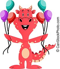 Red dragon is holding balloons, illustration, vector on white background.