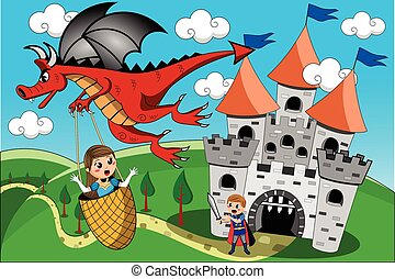 Red Dragon kidnapping little cute princess flying away while...