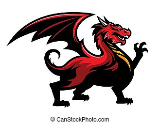 Red Dragon Logo Mascot in Sport Team Style