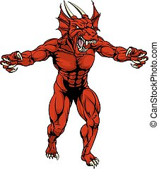 Red dragon mascot claws out