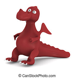 Red dragon on white. Isolated 3D image
