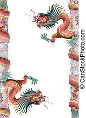 Red dragon pole isolated on white background