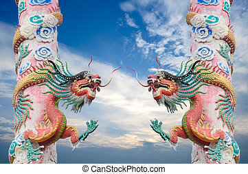 Red dragon pole with blue sky