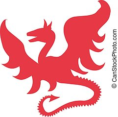 Red dragon silhouette