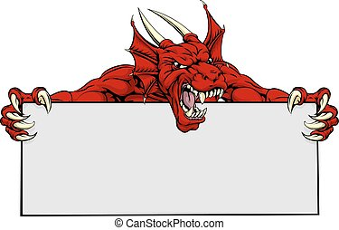 Red Dragon Sports Mascot Sign - A mean looking red dragon ...