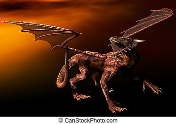 Red Dragon - 3D rendered dragon.