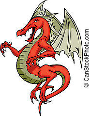 Red Dragon - Red Flying Scary screaching winged dragon