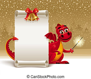 Red dragon with a sparkler and paper scroll for greeting -...