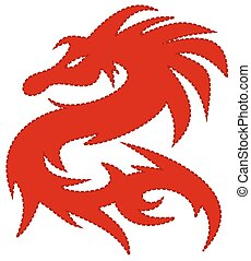 red dragon, with dash around the ed