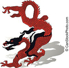 Red dragon with shadow, cartoon on white background,