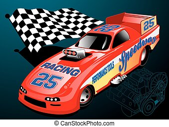 Red Dragster racing car with chequered flag and engine...