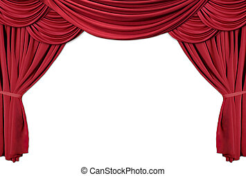 Red Draped Theater Curtains Series 2 - Isolated Red Draped...