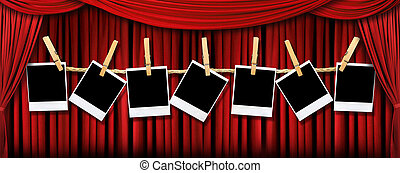 Red draped theater stage curtains with light and shadows with blank polaroids