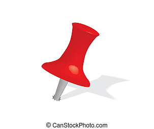 red drawing pin - close up of red drawing pin vector...