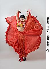 Red dress girl