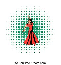 Red dress icon, comics style