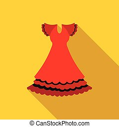 Red dress icon, flat style