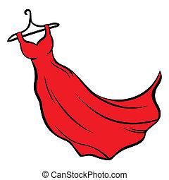 Illustration of red dress hanging on coat hanger