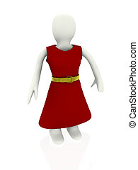 red dress on 3d person