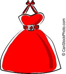 Red dresses, illustration, vector on white background.