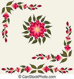 Red dried flowers with green leaves isolated on cream background