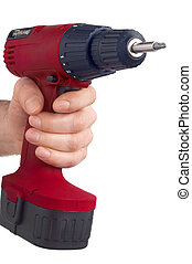 red drill - rote Bohrmaschine - red power drill with...