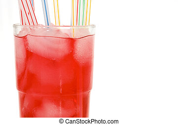 red drink on a white background