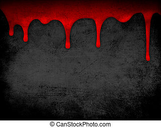 Red dripping blood grunge background - dripping blood gray...