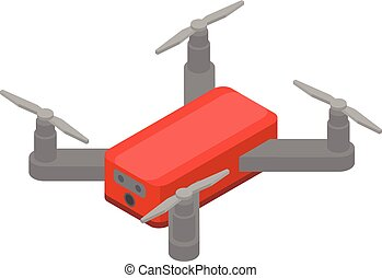 Red drone icon, isometric style