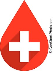 Red drop icon first aid donate blood sign