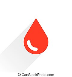 Red drop icon with gray long shadow