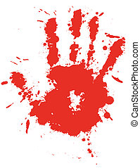 Red drop ink splatter hand print, blood splash vector.