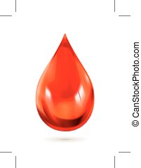 Red drop of blood, isolated on white background