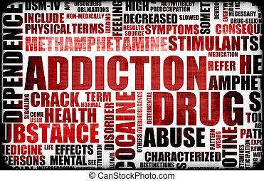 Red Drug Addiction Dangers Grunge Warning Concept