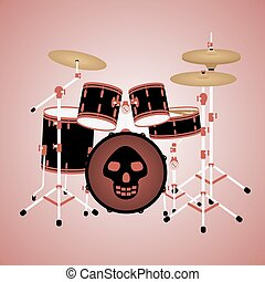Red drum kit with a skull