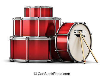 Red drum set with drumsticks