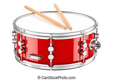 Red drum with drumsticks, 3D rendering