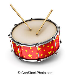 Red drum with drumsticks - Creative abstract musical...