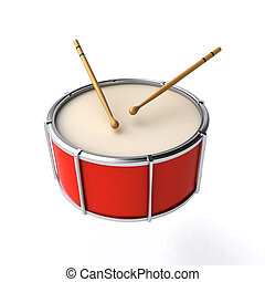 drum with sticks - red drum with sticks isolated on the...