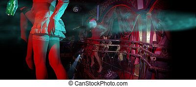 red drunk night club - drunk girls with bottle in a red...