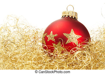 red dull christmas ball in golden glitter cotton on white background