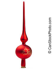 red dull christmas treetop on white background