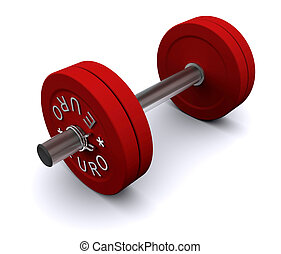 Red dumbbell on a white background